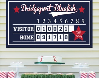 Baseball Scoreboard (Baseball Birthday, Baseball Party Sign, Baseball Party Printables, Boys, Baseball Poster, Red and Navy Blue)