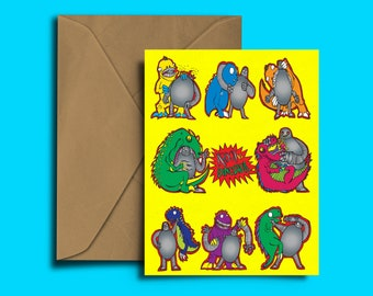 Robot Vs Dinosaur - Greeting Card - Comic Book - Wrestling - Dinosaurs - Robots - Tip-top quality card for any occasion - Birthday