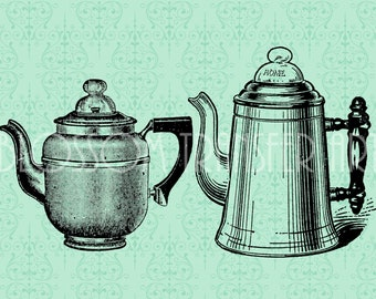 Teapot - Coffepot - Digital Images - Iron on trasfer - Download for papercrafts - Printables - DIY - 1786