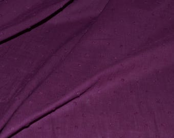 "Swiss Dot Fabric with Raised Dots Solid Purple 100% Cotton 56"" Wide Fabric By the Yard"