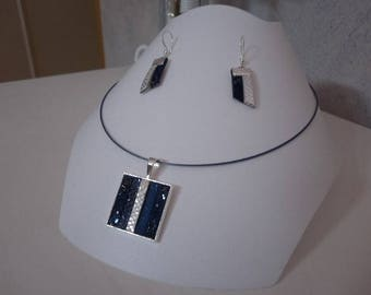 Ornament pendant blue and silver leather straps