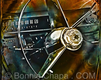 Buick 1956 Special Vintage Retro Car Speed Steering Wheel Texas Art Giclee Square Print