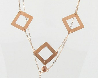 Necklace - Copper Chain & Squares (N009)