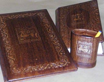 Business set of Address folder, a notebook and a pencil organizer