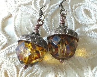 Czech Glass Acorn Antique Brass and Copper Earrings