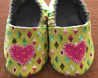 12-18 Month Baby Shoes/Lime Green and Pink/Baby Girl Shoes/Soft Soled Baby Shoes