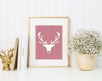 """Christmas Printable Deer print, Deer Hipster head with red nose wall art decor 