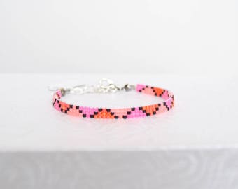Pink, purple and coral Miyuki Delicas beads woven bracelet