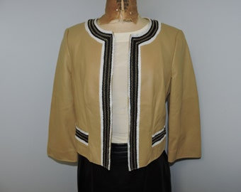 Worth Camel Tan Leather Crop Jacket size 8