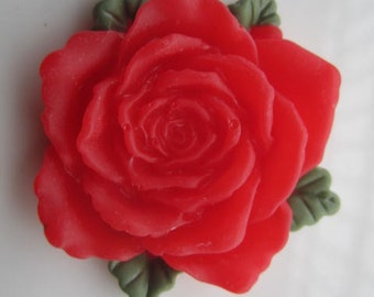 Large--2pc 45mm red resin  flower cabochon/cameo charms--rose flower with green leaves