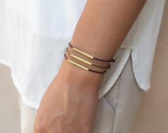 Set Of 3 Friendship Brass Tube Bracelets, Minimalistic Friendship Bracelet, Minimal Bracelet, Friendship Brass Bracelet, Elegant Bracelet