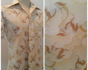1970s Vintage Mens Polyester Disco Shirt Pointy Collar Horses & Rainbows Size Small to Medium