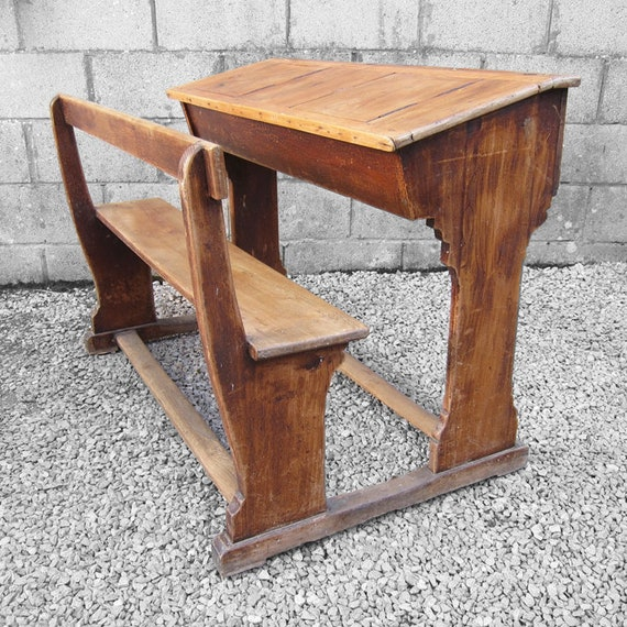 Antique Double Rustic Pine Twin School Desk Bench Seat French