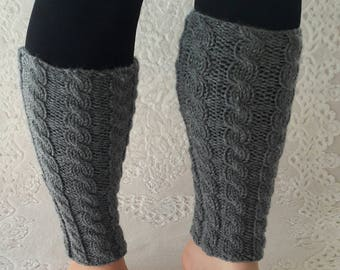 Long leg warmers, Knit grey leg warmers, cable knit boot cuffs, wool leg warmers, ankle warmers, grey boot cuffs, grey leg warmers.