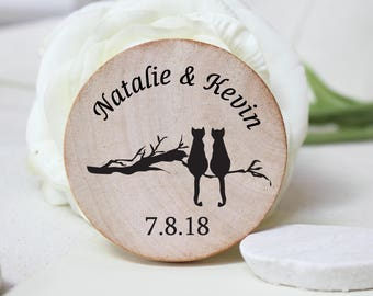 Wedding favors | magnets Cat lover | wooden magnets | rustic wedding unique favors  | favours  wooden save the date magnet