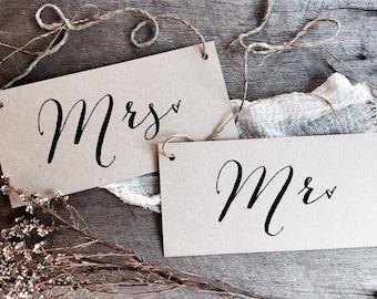 Mr Mrs Signs, Wedding Signs, Kraft Wedding Signs, Rustic Wedding Signs, Wedding Chair Signs, Mr Mrs, Chair Signs