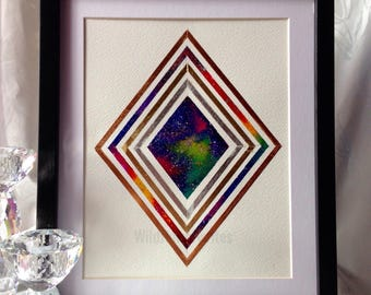 Extra large rainbow diamond nebula original art with frame