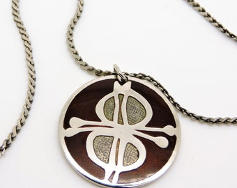 Modernist DE PASSILLE SYLVESTRE Necklace Pendant Enamel Abstract Canada Necklace