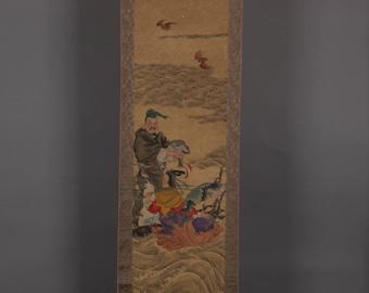 alte Chinesische Malerei/ Rolle. Krieger und Meerjungfrau