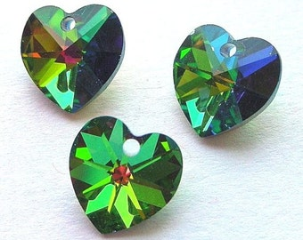 Vitrail Medium Swarovski heart pendants, 10mm crystal, Qty 3