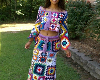 Custom Hand Crochet Granny Square Long Skirt and Crop Top Outfit, Hippie Chic, Bohemian Set, Festival Skirt and Crop Top, Festival Wear