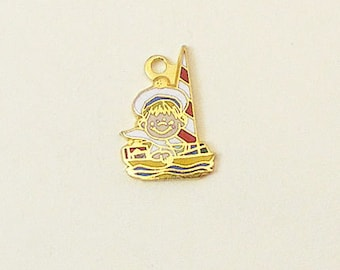 Vintage Aviva Kidlinks by Marty Links Child on Sailboat Enamel Charm 69-1