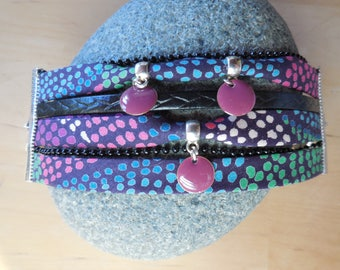 Cuff liberty multicolored polka dots, leather, chains and sequins