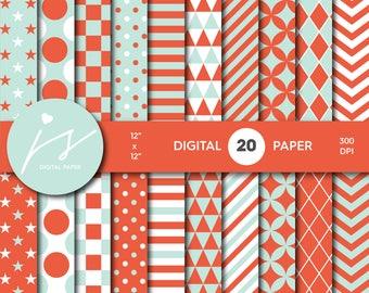 Mint and orange digital paper, Scrapbooking paper, Digital paper pack, Digital backgrounds, Printable paper, Commercial use, MI-619