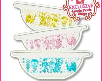 Vintage Kitchen Bowls 4 Applique  4x4 5x7 6x10 Machine Embroidery Design