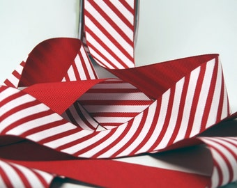 BULK Candy Cane Stripe Ribbon -- 5 yards - 1 1/2 Inch -- Red White Peppermint Stripe