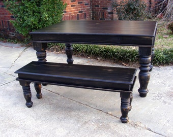 Handcrafted Solid Wood Dining Table And Matching Bench Distressed Black with Beautiful Hand Carved Legs