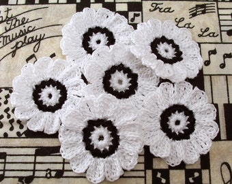 Crochet Black and White Flowers| Set of 6