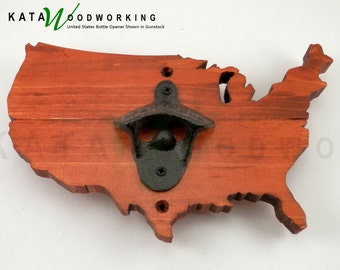 United States of America Wood Cut-out Bottle Opener - Handmade!
