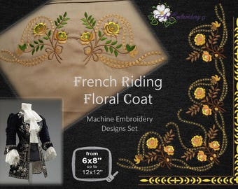 French Riding Floral Coat - Machine Embroidery Designs Set for the 18th Century frock coat or Steampunk costumes