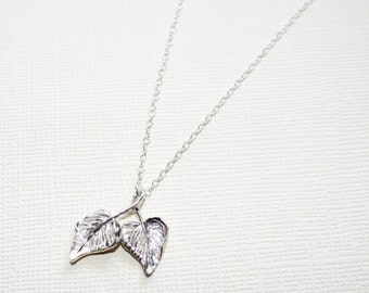 Twisted Grape Leaves Necklace in Sterling Silver