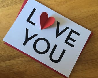 Love you greetings cards, annicersary card, valentine's card, romantic card, love card, 3d hearts card, love you