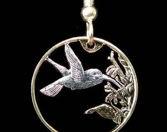 Cut Coin Jewelry - Earrings - Trinidad and Tobago - Hummingbird