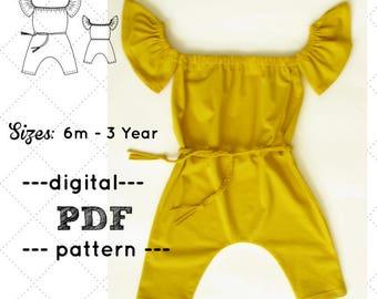 Girls Romper  pattern, Harem Romper pattern, Playsuit  PDF, Off-the-shoulder Jumpsuit pattern, Girls Playsuit PDF, Underarms Romper Pattern