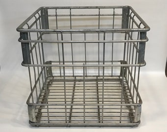 Metal Milk Crate, Made by United Steel & Wire Co