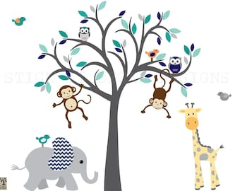 Elephant Decal, Boy Jungle Animal wall decal, giraffe decal, Safari Animal Wall Decal, Nursery Wall Decal, Wall Sticker, Blues & Grey Design