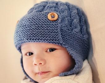 PDF Knitting Pattern, Baby Aviator Hat Pattern, Earflap Hat Pattern, Baby Hat Knitting Pattern, Instant Download, Knit Hat Pattern, DAYTON
