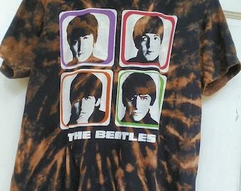 The Beatles - Reversed Tie Dye by bleach - Adult Large