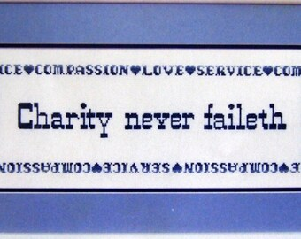 Charity Never Faileth By Patricia Ann Vintage Cross Stitch Pattern Packet 1987