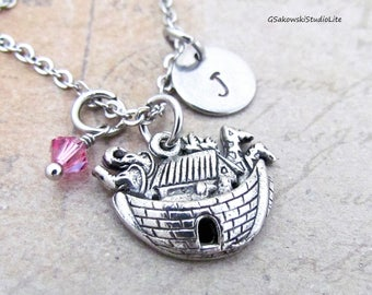 Noah's Ark Charm Necklace, Personalized Hand Stamped Initial Monogram Birthstone Antique Silver Noah's Ark Necklace