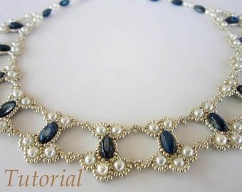 PDF tutorial lace beaded necklace seed bead pearl oval bead