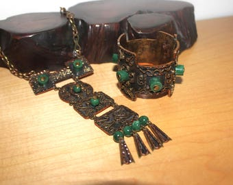 Set 1950s Mexico Copper Brass Necklace Bracelet Casa Maya Signed - Hinged Cuff Bracelet - Tribal Jewelry Statement Piece Jadeite
