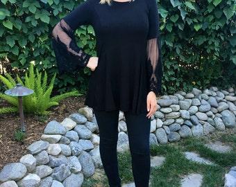 Plus size tunic, Black tunic top, Tunic Tops, Woman Tunic, Black Top w/Lace Sleeve, S M L, XL 2X 3X Round Neck