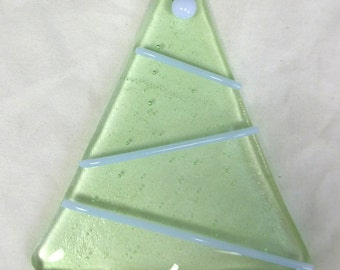 Fused Glass Christmas Tree Decoration - Contemporary Style - Pastel Green with Lilac Decorations