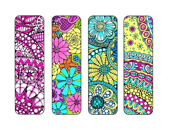 Delicate image within free printable bookmarks to color for adults