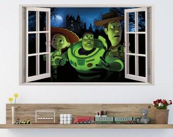TOY STORY Buzz Woody & Jessie Kids Window Effect Vinyl Wall Art Sticker (p5)